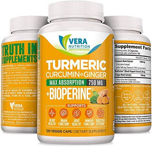 Vera Nutrition Turmeric Curcumin with Ginger and Black Pepper- 120 caps. 1600mg Turmeric, 140mg Ginger, 20 mg Black Pepper Extract per Serving.