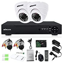 KKmoon 4CH Full AHD 1080N 1200TVL CCTV Surveillance DVR Security System P2P Cloud Onvif Network Digital Video Recorder +1TB Hard Drive Support IR-CUT Filter Night Vision Plug and Play