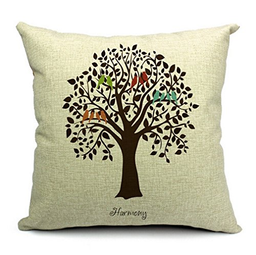 "CoolDream Cotton Linen Square Decorative Throw Pillow Case Shell Cushion Cover Bird On Tree 18 ""X18 """