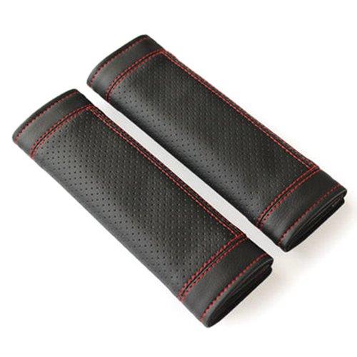 R 2Pcs PU Leather Car Seat Belt Shoulder pads Cover Black /& Red SODIAL
