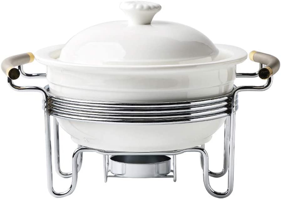 l.e.i. 3 Quart Buffet Casserole Dish,Ceramic Chafer with Candle Holder,Chafing Catering Warmer Set,Keep Food Calories,for Party brunches Catering Events Soup Porridge