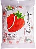 Haoliyuan Strawberry Flavor Sweet Soft Chewy Milk Candy, 100 Pieces (13.4 oz)