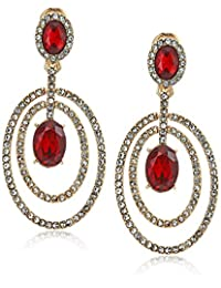 Anne Klein Women's Red Stone Orbital Clip Earrings, Size: 0