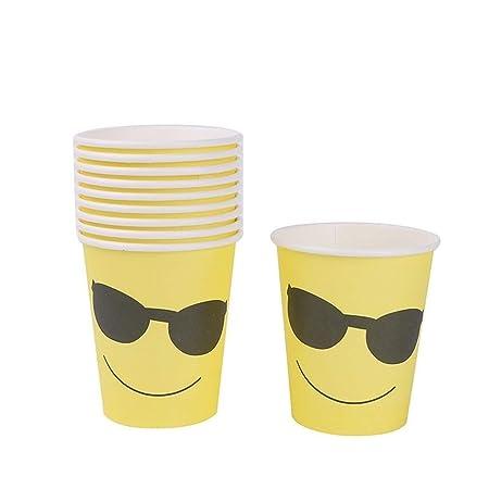 XIAOYUTOU 10pcs Partido vajilla Emoji Vasos Desechables ...