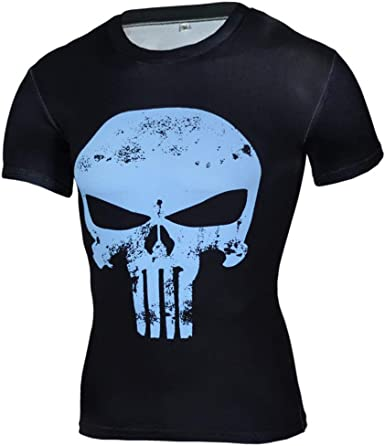 Short Sleeve Dri-fit Blue Punisher Compression Top Tee Cool Graphic Shirt L