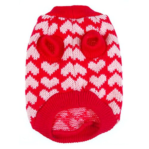 Product image of PanDaDa Puppy Dog Little Heart Pattern Knit Sweater Coat Jumper Jacket (S(Tag:M), Red)