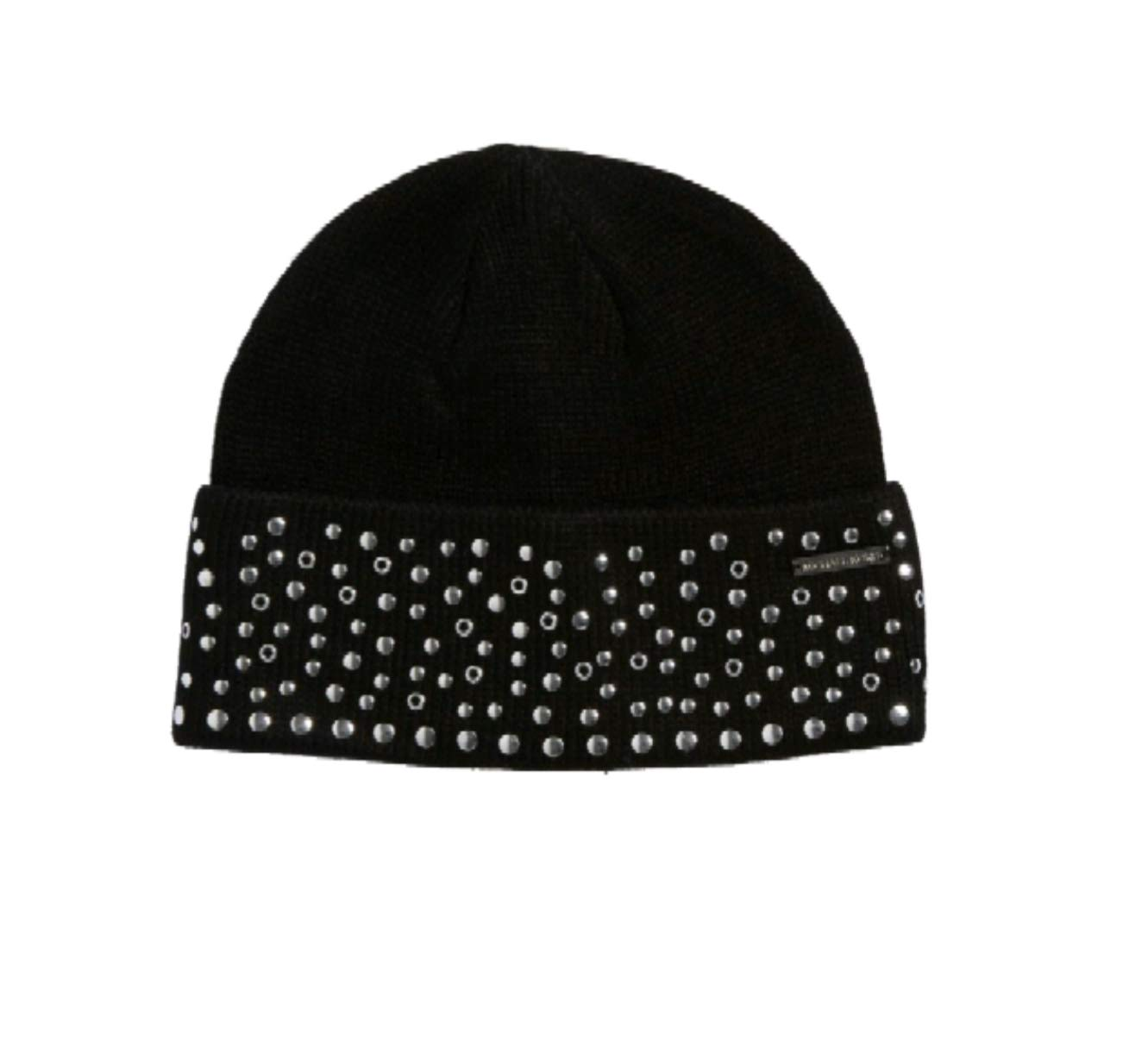Michael Kors Women's Silver Studded Cuffed Beanie, Black