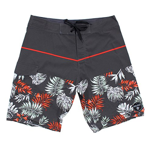 [Molokai Mens Summer Time Stretch Boardshorts (38, Red Palm)] (Xxl Santa Suits For Sale)