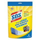 S.O.S. Non-Scratch Soap Scrubbers, Blue, 4/Pack