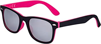 SIX Kids Sonnenbrille, Kindersonnenbrille, Wayfarer, verspiegelt, eckig, rosa, schwarz, Silber (128-783)