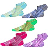 SUMBAGO Womens Striped Pattern No Show Running Sport Liner Socks 5 Pack, Hidden Low Cut,Non-Slip Grips Seamless Toe