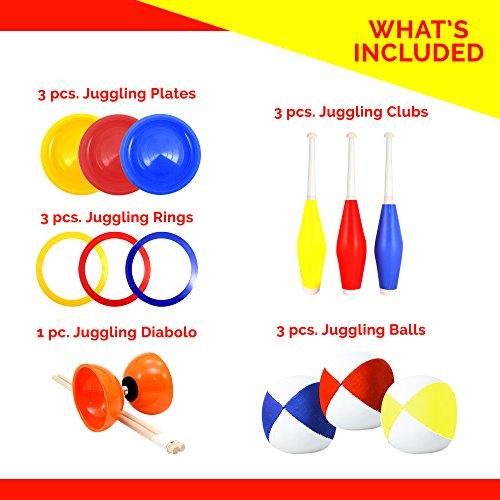 Beginners Juggling Kit - Balls (3), Pins (3), Plates (3), Rings (3), Chinese Yoyo Diabolo Advanced Set Cool Fun Unique Toy Gift Set For Boys and Girls by Juggle Mania (Image #1)