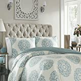 4 Piece Queen, French Country Classic Damask Medallion Pattern Comforter Set, Shabby Chic Elegant coastal Texture Design, Bohemian Designer Themed, Fancy Reversible Bedding, Adorable Aqua, White Color