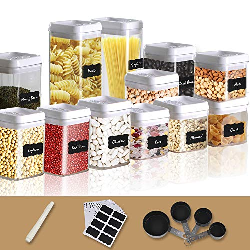(Airtight Food Storage Container, Dry Food Seal Pot, Plastic Jar Keeper 12 Piece Set with 18 Labels, Chalk Marker and 4 Piece Measuring Cups, Plastic Airtight with Interchangeable Easy Lock Lids)