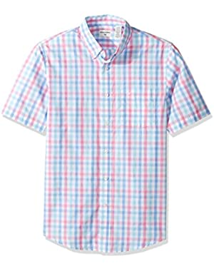 Men's Short-Sleeve Multi Gingham Button-Front Shirt with Pocket