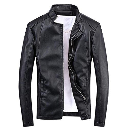 Modern Fantasy Mens Vegan Stand Round Collar Moto Business Casual Pu Leather Jackets Size US Black XXS