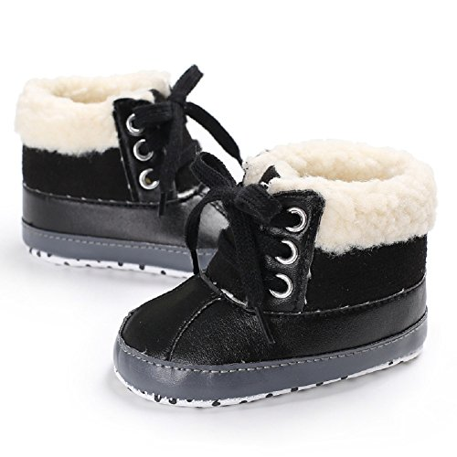 Image of Meeshine Baby Boys Girls Plush Lace Up Snow Boots Newborn Infant Toddler Winter Warm Non-Slip Soft Sole Prewalker Crib Shoes