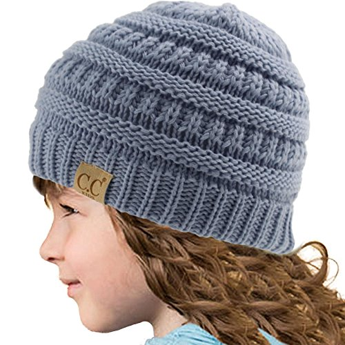 Kids CC Ages 2-7 Warm Chunky Thick Stretchy Knit Slouch Beanie Skull Hat Denim (Boys Beanie)