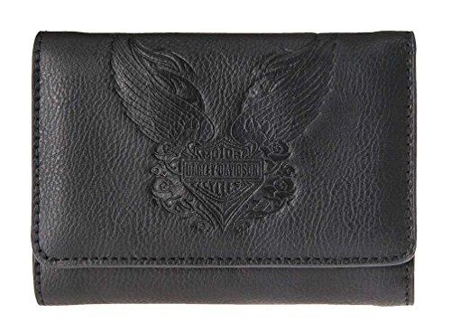 Harley-Davidson Women's Rose Tattoo Embossed B&S Leather Wallet -