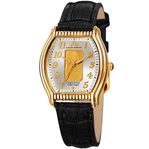 - August Steiner Certified Gold Ingot Bar Women's Watch - Genuine Leather Alligator Embossed Black Strap, Rectangle Tonneau Gold Case - AS8225YGB