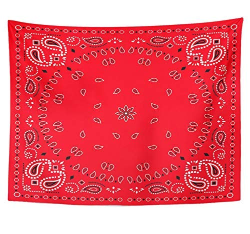 SPXUBZ Wall Tapestry Colorful Bandanna Red Paisley Bandana Green Classic Neckerchief Abstract Black Wall Hanging Decoration Soft Fabric Tapestry Perfect Print for House Rooms ()