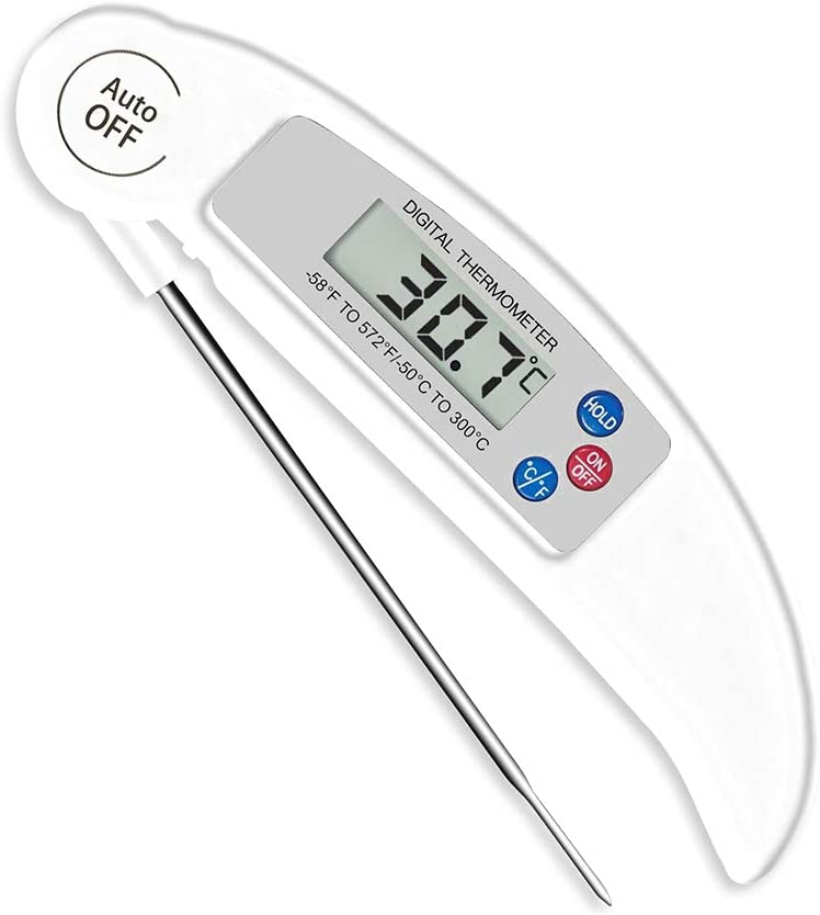 Milk BBQ Digital Meat Thermometer with Instant Read and LCD Screen for Food and Water Black YuamMei Kitchen Cooking Thermometer Meat