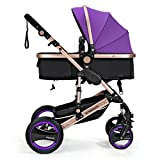 Wisesonle Inflatable Rear Wheels Do Not Need Pushchair Baby Stroller Travel System With Bassinet Size 85*41*109cm Red Khaki Pink Deep Blue Purple Blue