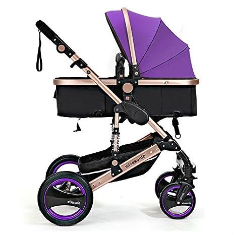 wisesonle ruedas traseras inflables no necesito cochecito 2016 bebé cochecito sistema de viaje con Moisés tamaño 85 * 41 * 109 cm rojo caqui rosado azul ...