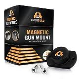 IronClad 25lb Rubber Coated Gun Magnet | Gun Holder | Gun Holsters | Steering Wheel Gun Holster | Hand Gun Magnet | Gun Mount | Gun Clip Magnet | Mount it on Desk Car, Safe Display Case