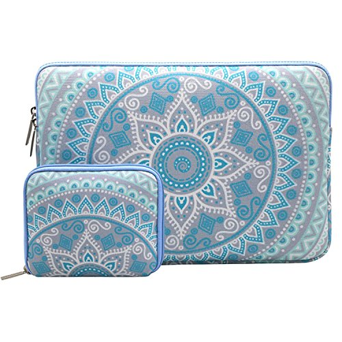 Mosiso Laptop Sleeve Bag for 13-13.3 Inch MacBook Pro, MacBook Air, Notebook Computer with Small Case, Canvas Fabric Mandala Pattern Protective Cover, Mint Green and Blue (Protective Cover)
