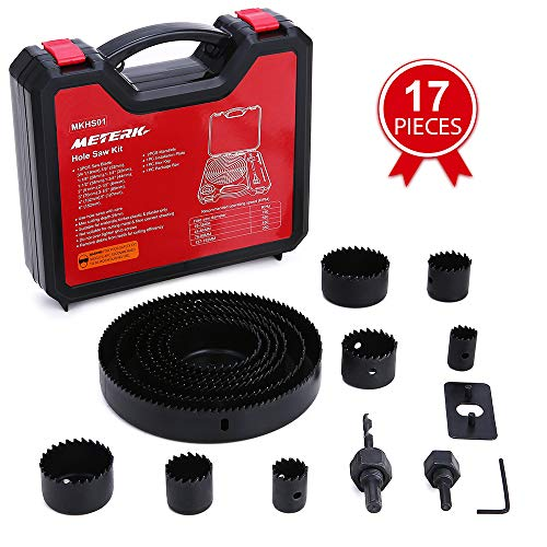 Hole Saw Set, Meterk 17 Pcs Hole Saw Kit with 13Pcs Saw Blades, 2 Mandrels, 1 Installation Plate, 1 Hex Key, Max Size 6
