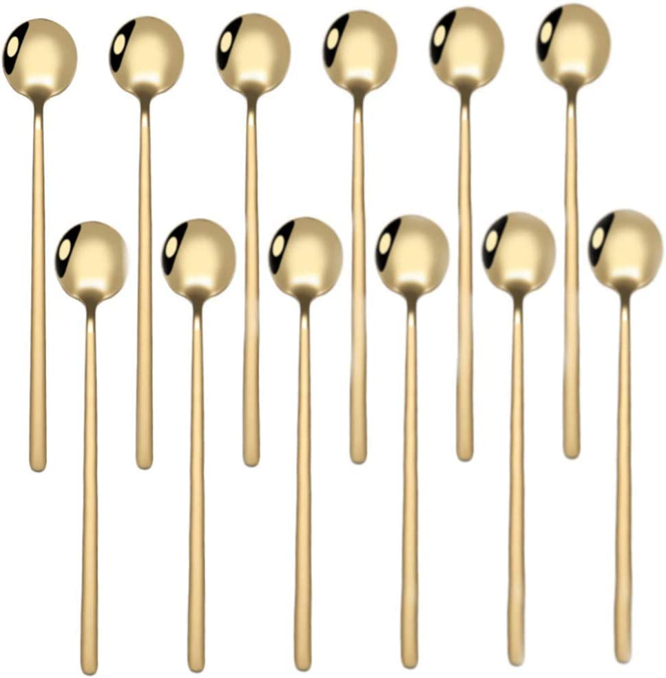 ProLeo 13,3 cm set di 12 cucchiaini da caff/è in acciaio inox colore oro mini cucchiaini da torta lucidati a specchio cucchiaini da t/è