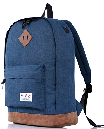 HotStyle 915s Vintage mochila colegio 24L - Impermeable para portatil de 15-inch - Negro D104F, Azul