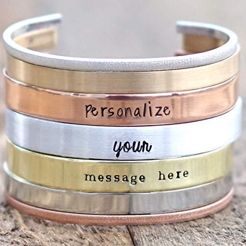 IF - Personalized Cuff Bracelet for Men in Silver, Bronze, Nickel, Gold, or Copper, Bangle Bracelet, Hand Stamped, Custom Cuff Bracelet, Coordinate Bracelet, GPS Bracelet - Custom Gifts