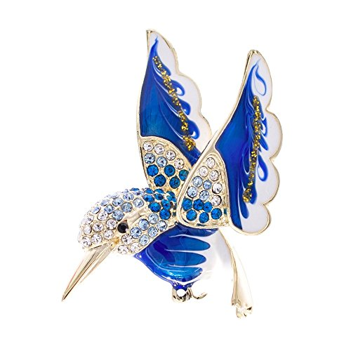 SEPBRIDALS HummingBird Bird Dress Brooch Pin Broach Rhinestone Crystal Jewelry (Blue)
