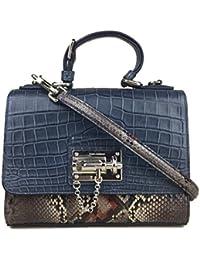 Miss Monica Crocodile Python Snakeskin Leather Light Blue Brown Sicily Bag Handbag Purse