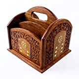 Cheap Remote Control Stand Hand Carved Wooden Holder Organiser TV Caddy 5 Compartments