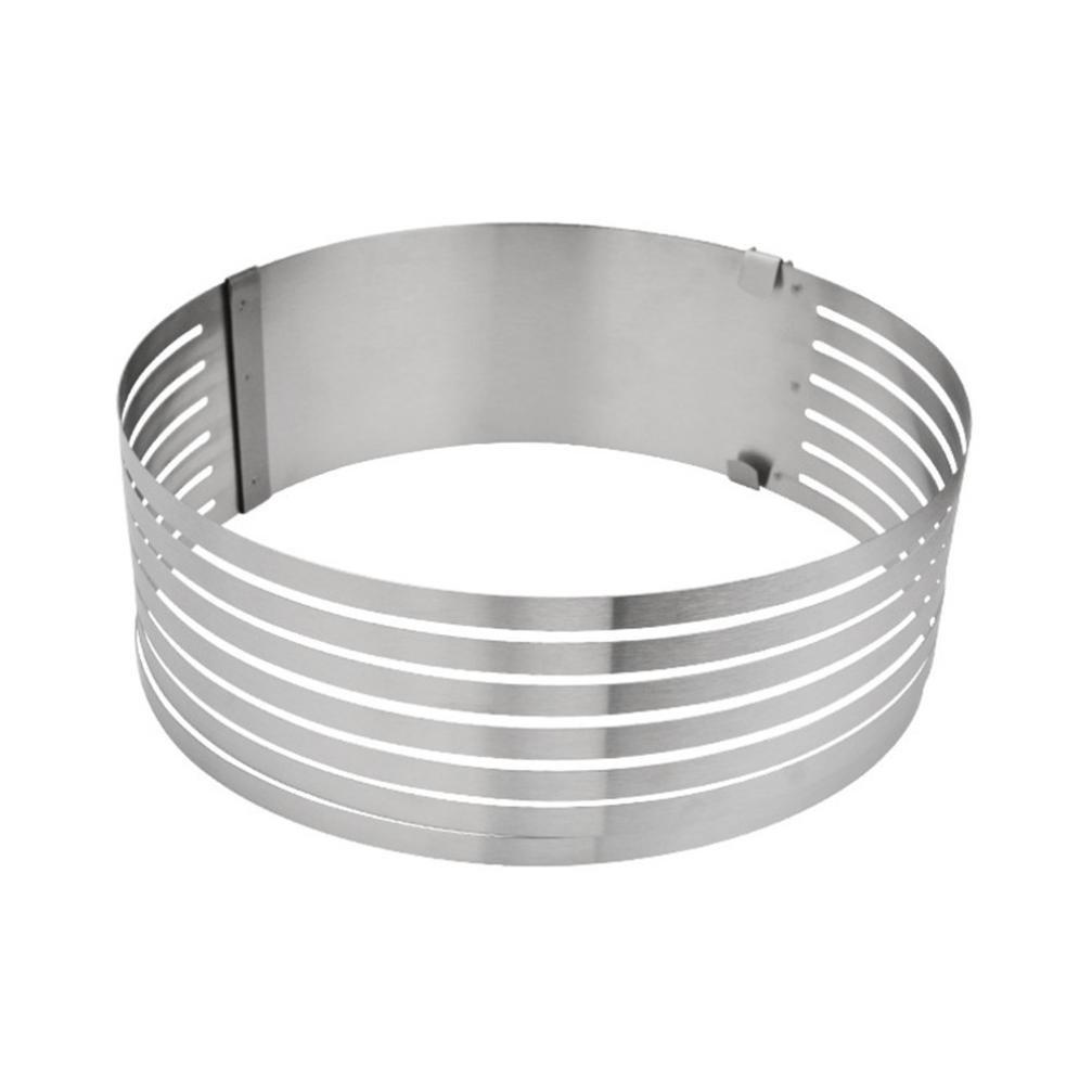 Feccile Adjustable Stainless Steel Cake Slicer Ring Mold for DIY Baking Kitchen Gadget