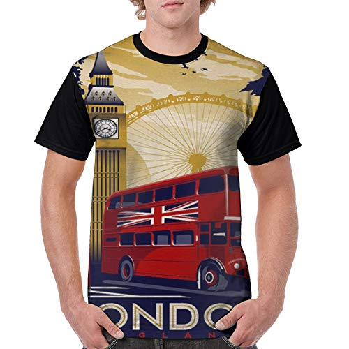 Unisex London England Retro Travel Poster Crazy 3D Printed T-Shirts Casual Creative Short Sleeve Graphic Tees for Men Black