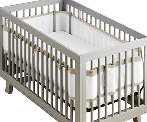 uxe Breathable Mesh Crib Liner | Doctor Endorsed | Helps Prevent Arms and Legs from Getting Stuck Between Crib Slats | Independently Tested for Safety | White w/Natural Linen ()
