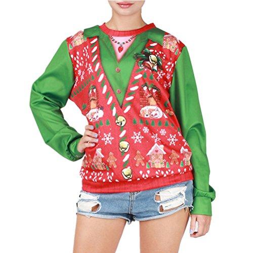 Cfanny par 3d impresión de Papá Noel Ugly Navidad sudadera Tops Snowflake Golden Retriever