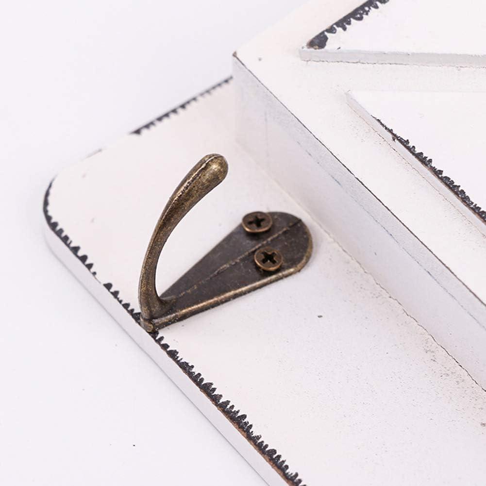 Taglia libera Portalettere in legno stile rustico per cassetta della posta con ganci per chiavi da parete organizer Grey