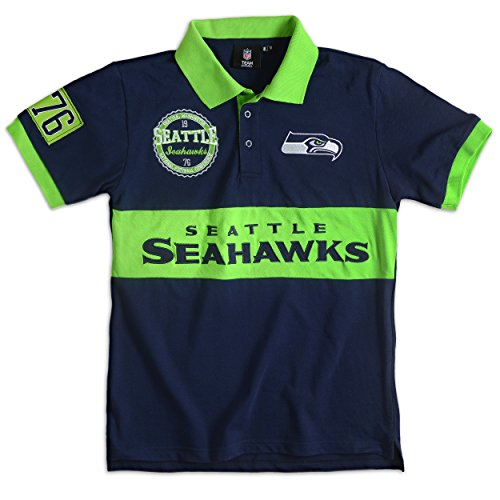 Seattle Seahawks Cotton/Poly Wordmark Rugby Short Sleeve Polo Shirt Extra Large ()