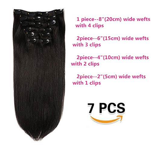 Hot Sale Virgin Human Hair Wefts #1B 14inch 35cm Natural Black Silky Straight Clip In Ons Hair Extensions 8A Grade Unprocessed Hair Products (14inch 70g, 1B) (35 Cm Natural)