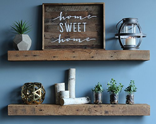Barn Wood Shelves Chunky Rustic Industrial - Amish Handcrafted in Lancaster County, PA - Set of Two | 40 Inches, (Genuine Salvaged/Reclaimed Floating or with Metal Brackets) (Floating Natural)