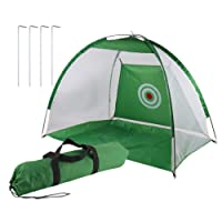 COMOTS Golf Practice Net Portable Lightweight Indoor Foldable 2M Golf Hitting Cage Practice Net Trainer Training Aid Mat With Carrying Bag