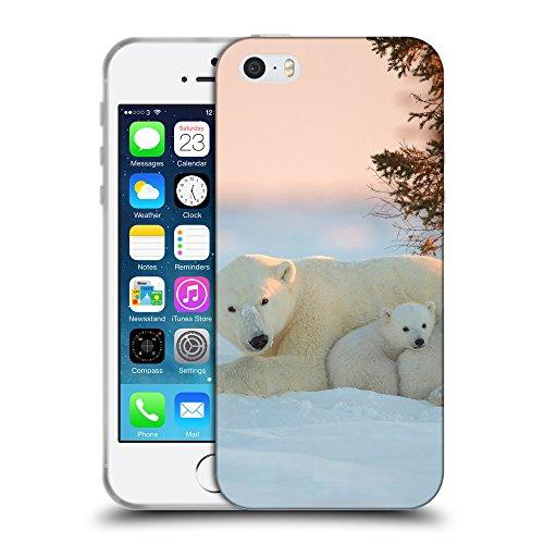 Just Phone Cases Coque de Protection TPU Silicone Case pour // V00004124 L'ours polaire dans le lever du soleil // Apple iPhone 5 5S 5G SE