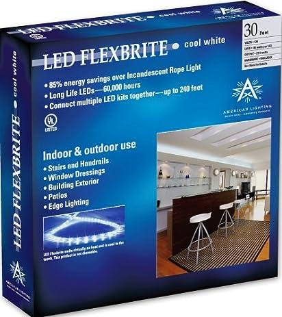 Amazon american lighting flexbrite led rope lighting kit with american lighting flexbrite led rope lighting kit with mounting clips 6400k cool white 30 mozeypictures Images