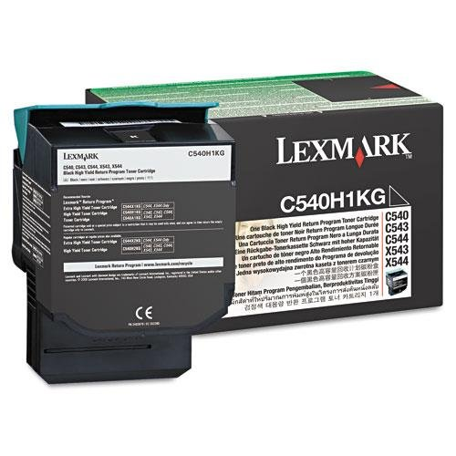 Lexmark C540, C543, C544, C546, X543, X544, X546 Series High Yield Black Return Program Toner Cartridge (2,500 Yield), Part Number C540H1KG
