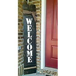 Large Vertical Wood Welcome Sign